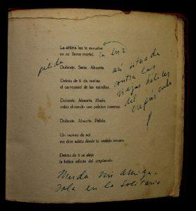Annotazioni autografe da Veinte poemas