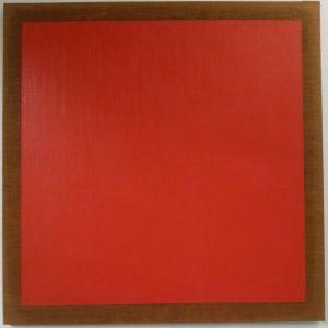 Quadro quadrato rosso, 1973, olio su tela, 150x150cm.
