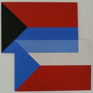 Quadrato interrotto n. 4, 1977, olio su tela, 140x140cm.