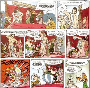 3.La sinergia totale tra la sceneggiatura e il disegno traspare da questa sequenza di Asterix e gli allori di Cesare (1972), nella quale un altezzoso schiavo si mette in mostra al mercato impersonando celebri statue antiche.